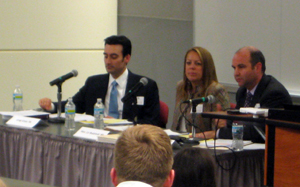 CLE panelists (L-R): Greg Ginex '04, Hon. Liz Budzinski '88, and Bill Gibbs '04.