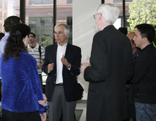 Prof. Austin D. Sarat speaking with guests at the 2012 Centennial Lecture reception.