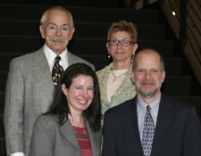 Back row (L-R): Roy C. Palmer '62 and Susan Palmer. Front row (L-R): Prof. Laura Dickinson and Dean Hal Krent.