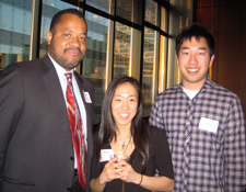 (L-R): George Jackson '85, Jessica Ryou '14, and Phillip Hwang '14.