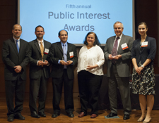 2012 Alumni Awardees (L-R): Dean Hal Krent, Paul Haidle '07, Victor Perez '01, Zena Naiditch on behalf of Equip for Equality, Jim Reichardt '77, and Mari Monteiro '04, also on behalf of Equip for Equality.