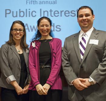 (L-R): Kylin Fisher '13, Professor Nancy Marder,  and Patrick Ferrell '13.